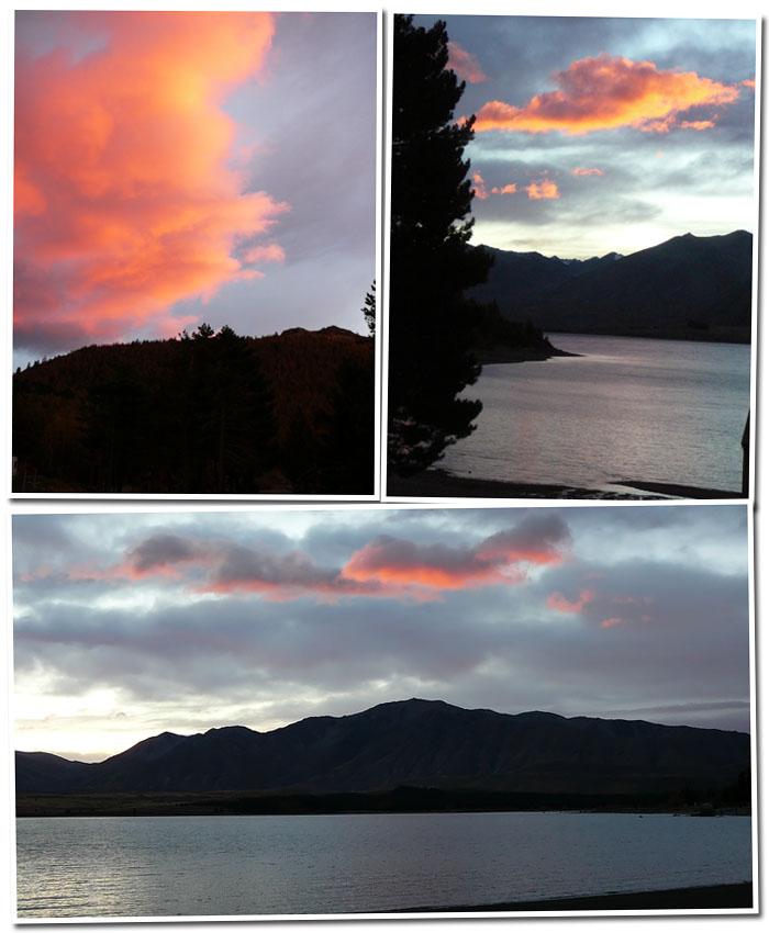 nuages roses au lac tekapo