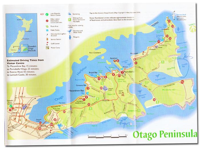 plan de la péninsule Otago